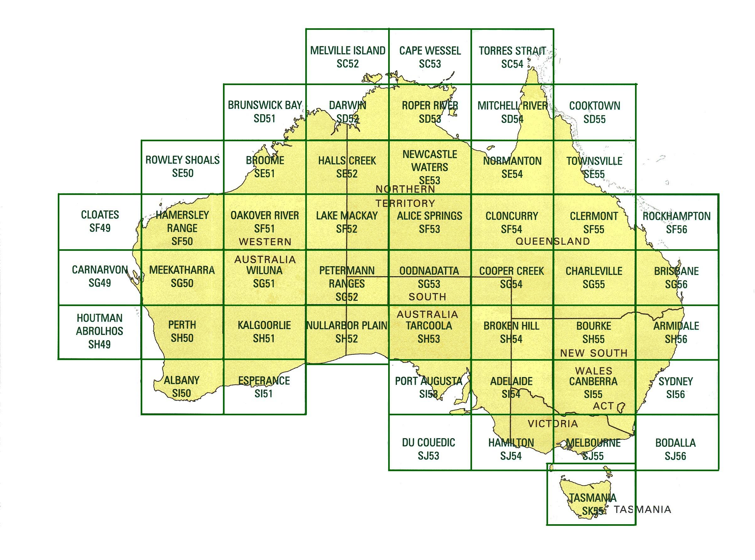 australia 250k map index